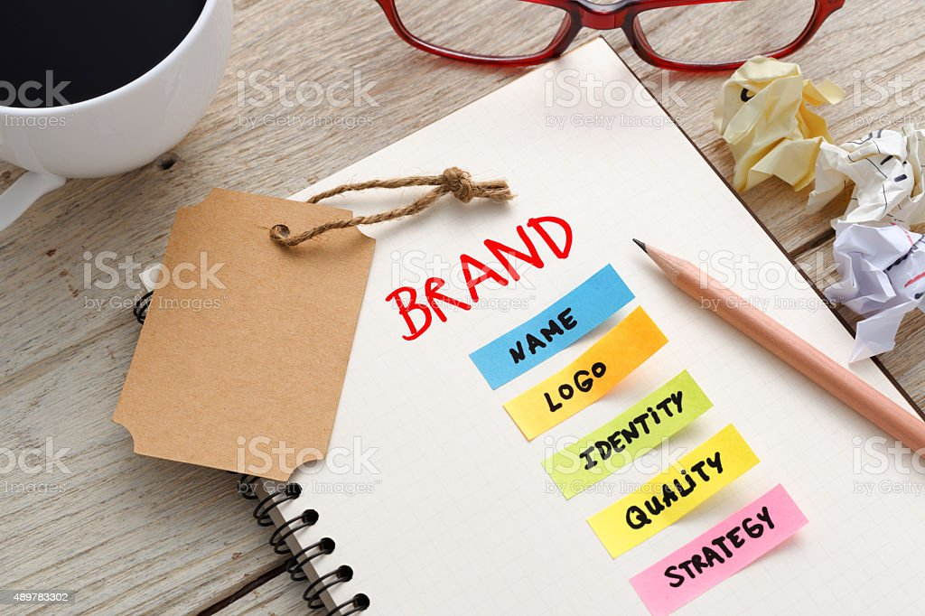 Brand marketing concept with brand tag stock photo