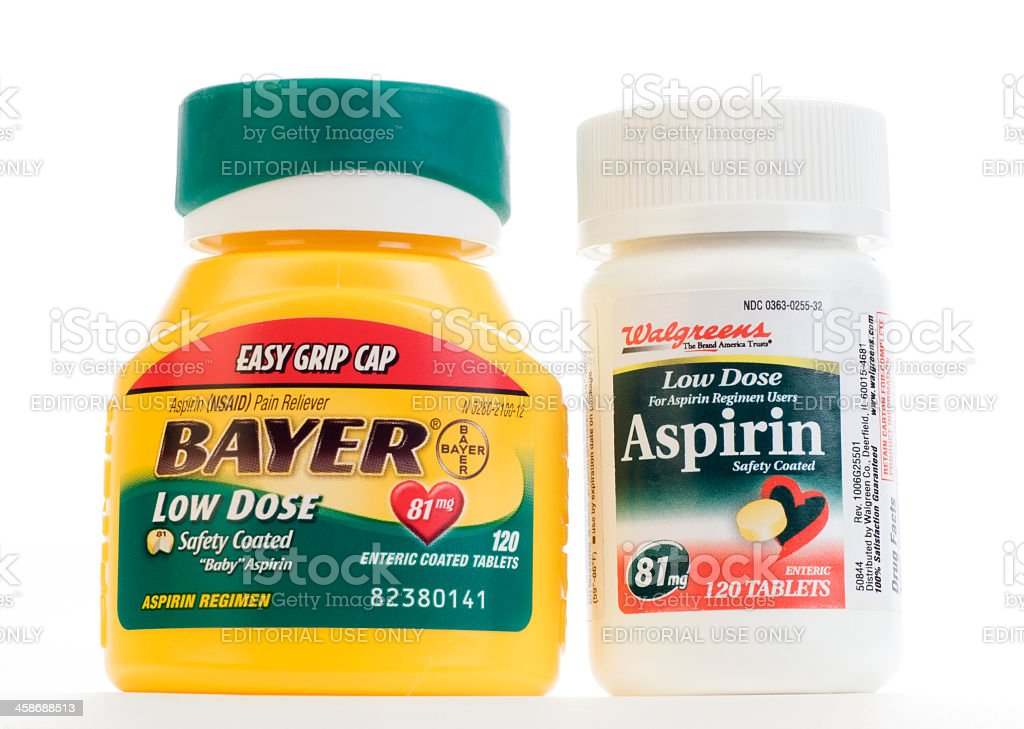 Brand Name Versus Generic Low Dose Aspirin stock photo