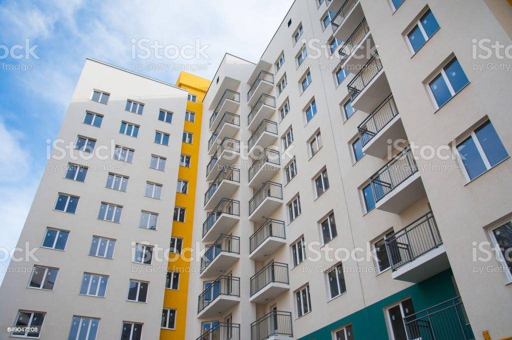 Brand new apartment building stock photo