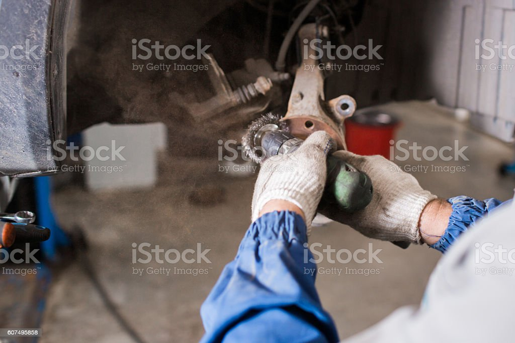Brand new brake disc on car in a garage. Auto stock photo