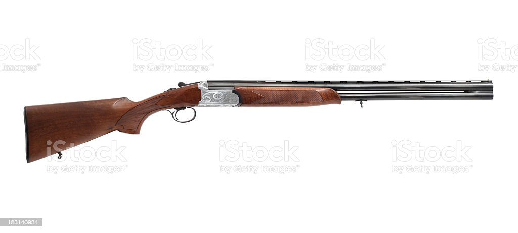 Brand new brown and metallic shotgun stock photo