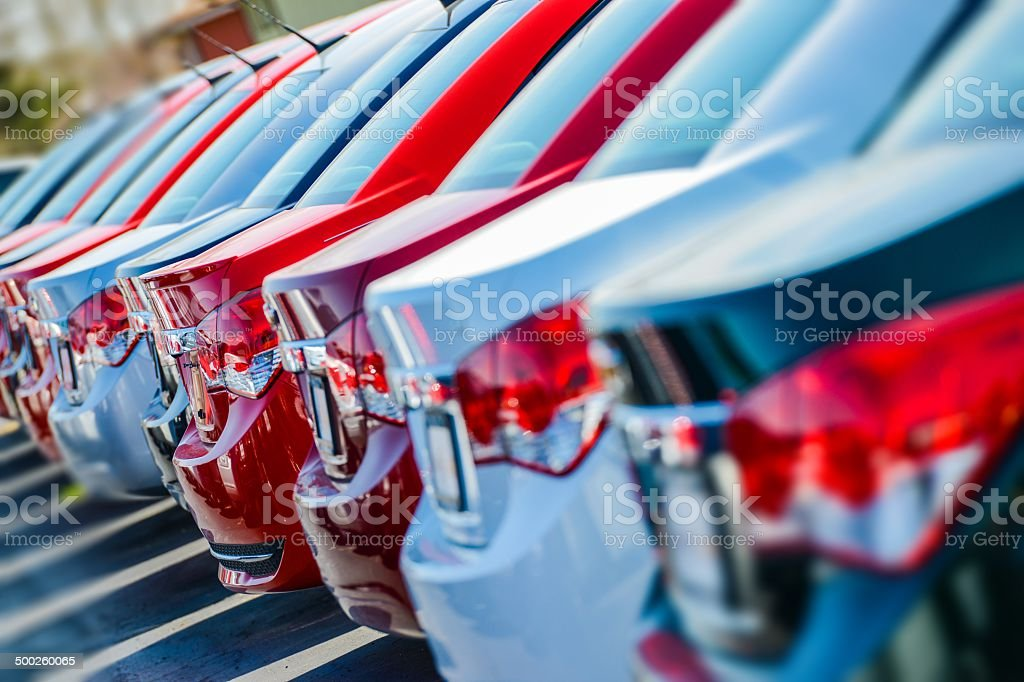 Brand New Cars in Stock stock photo