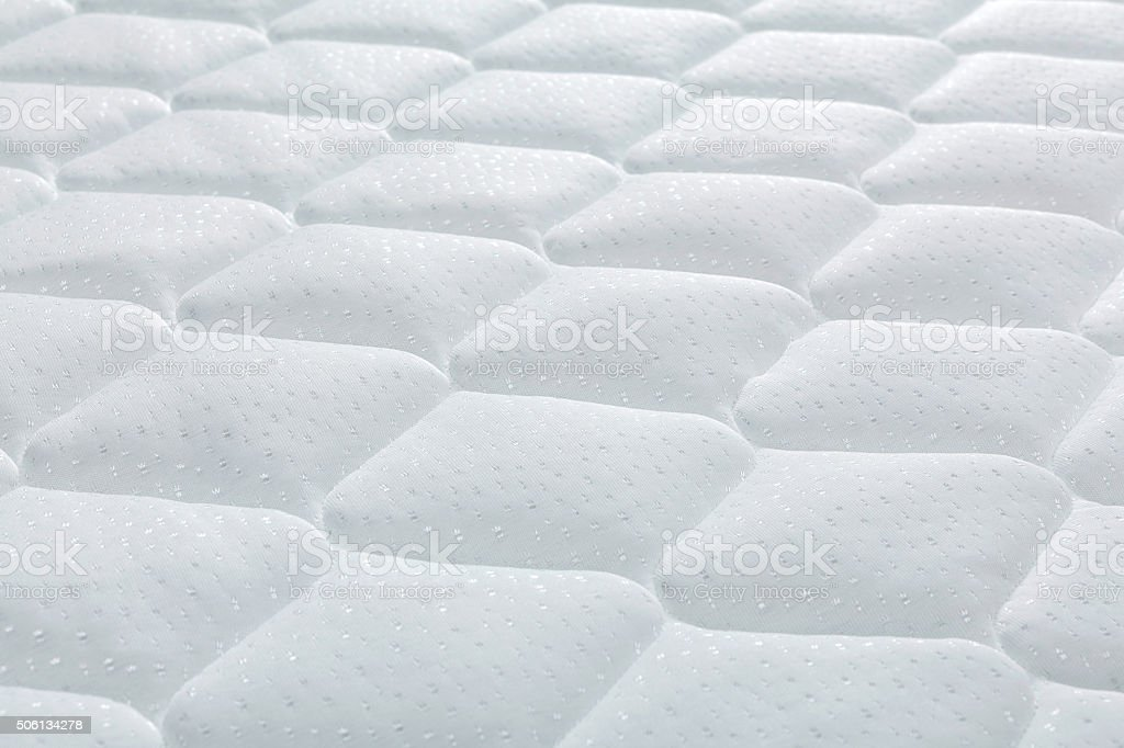 Brand new clean mattress cover surface stock photo