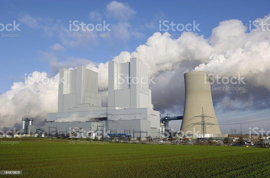 Brand new coal burning power plant stock photo