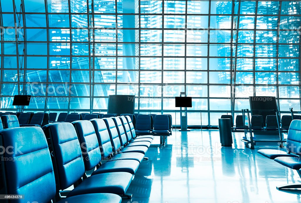 Brand new departure lounge at the airport stock photo