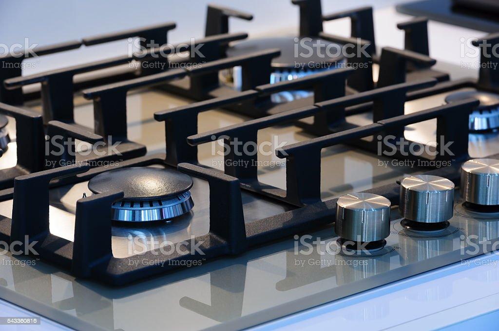 Brand new gas stove closeup stock photo