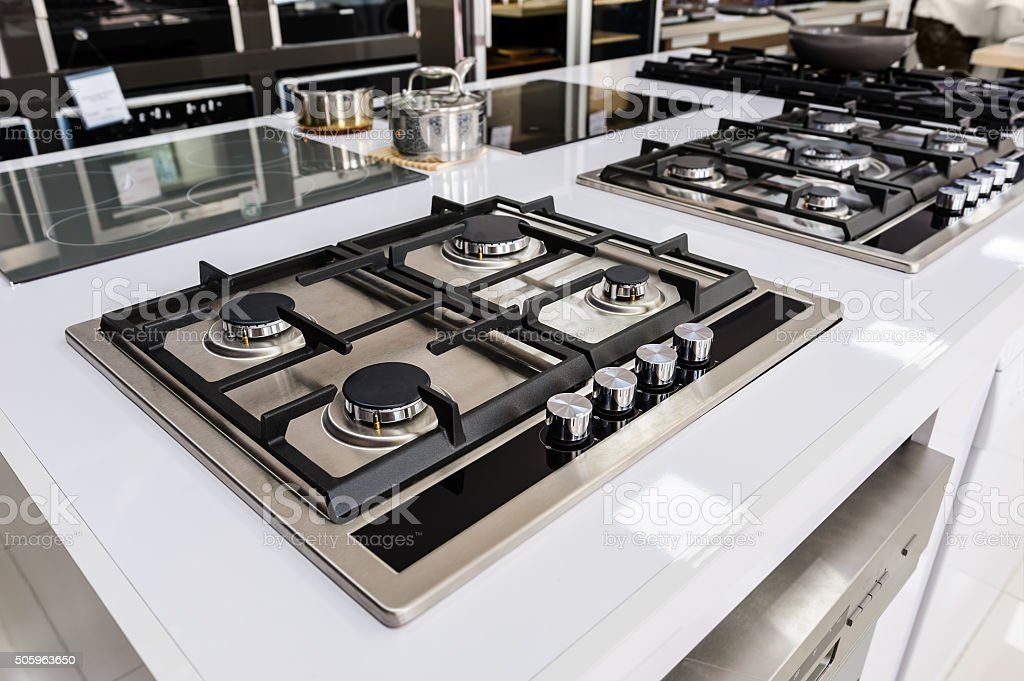 Brand new gas stoves stock photo