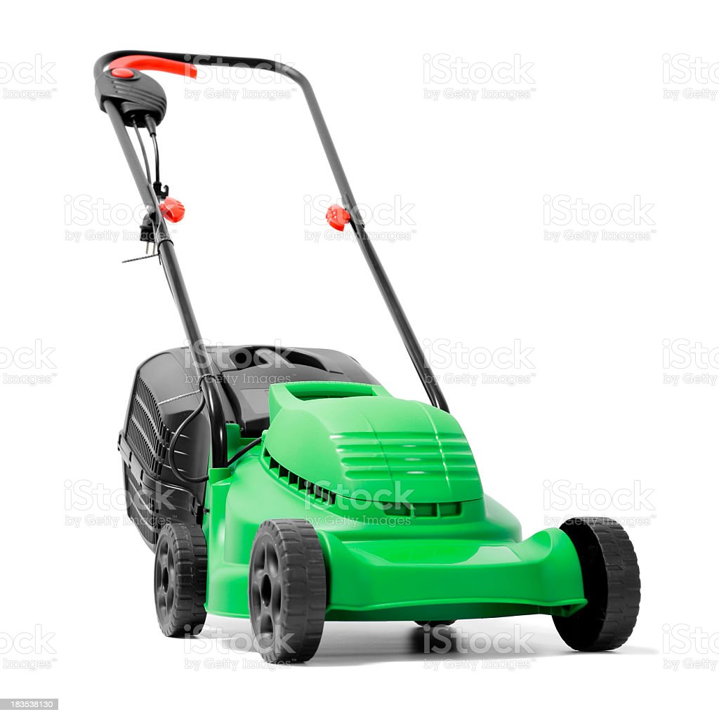 A brand new green electric power lawn mower stock photo