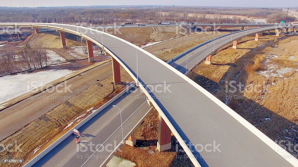Brand new highway overpass construction, not yet in use stock photo