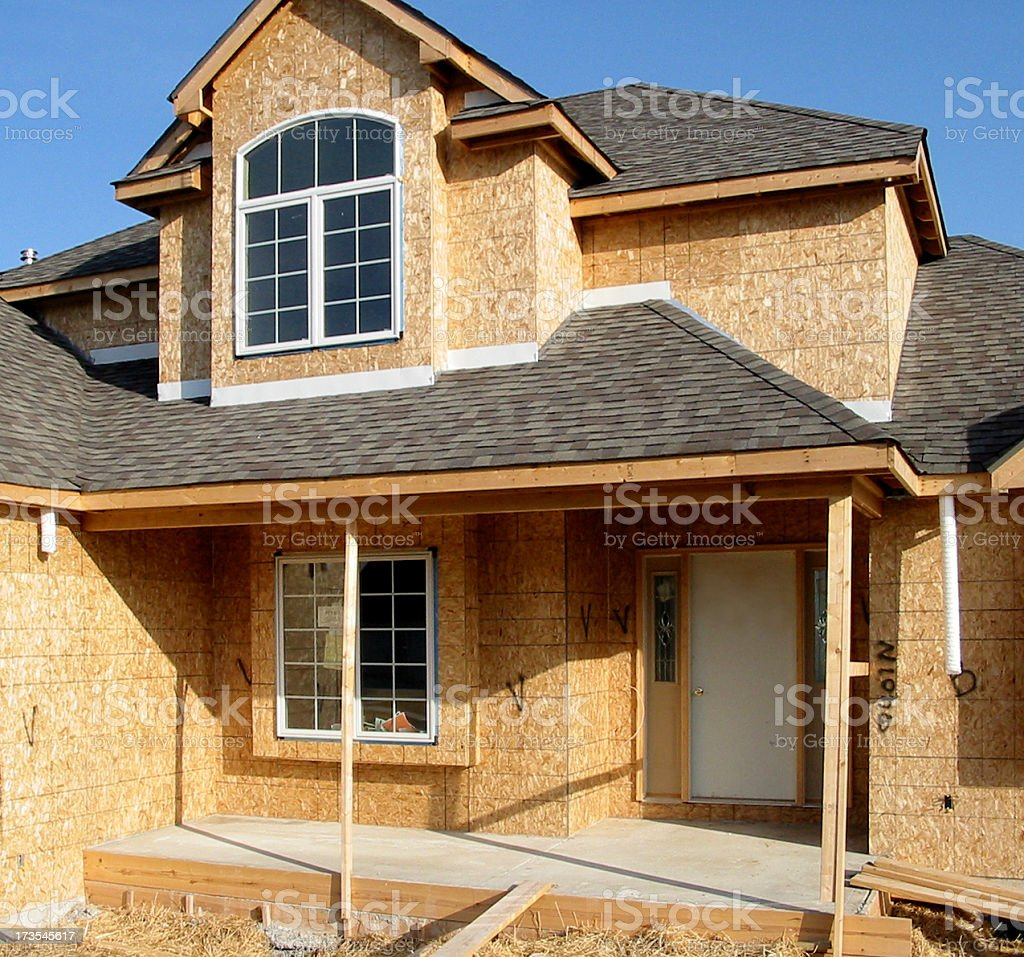 A brand new house still under construction stock photo