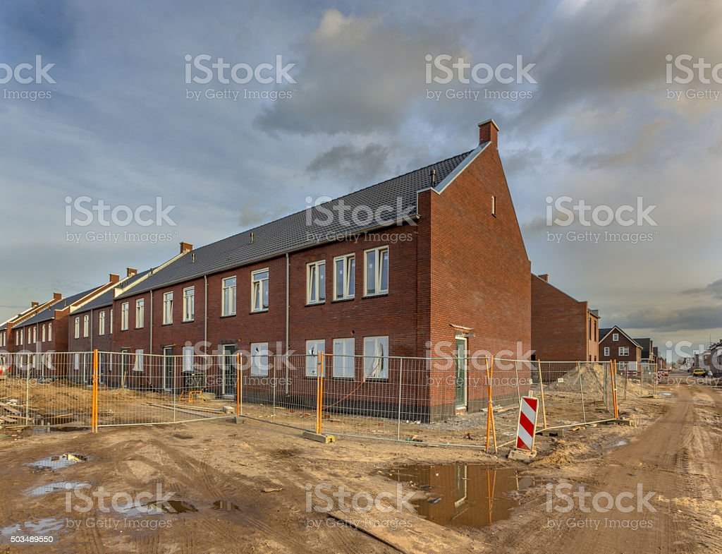 Brand new houses on a building site stock photo