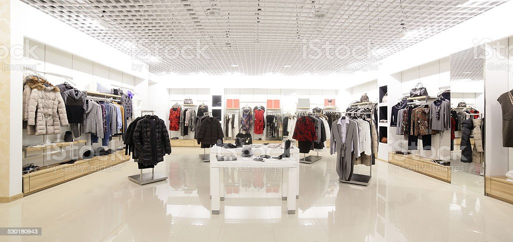 brand new interior of cloth store stock photo
