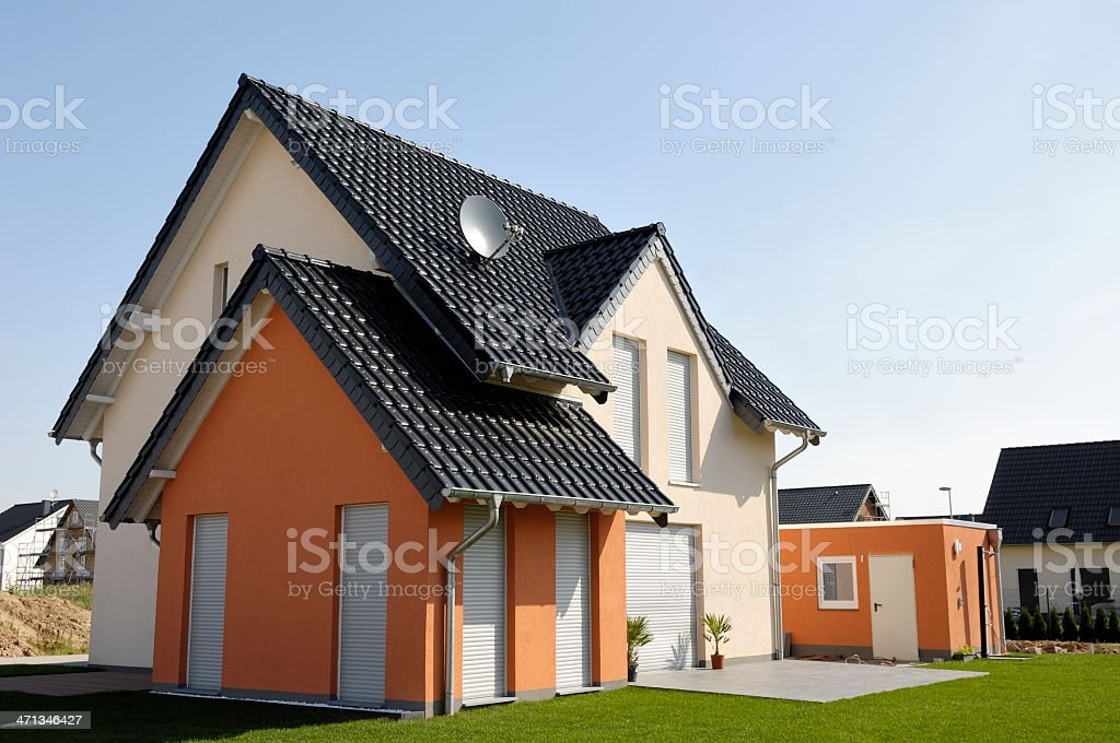 Brand new one family house stock photo