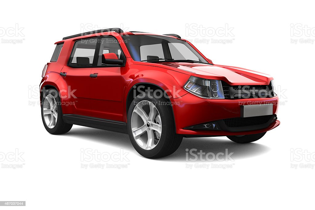 A brand new red SUV parked against a white background stock photo