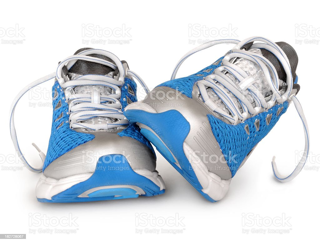 Brand new sport shoes in blue and silver color combination  stock photo