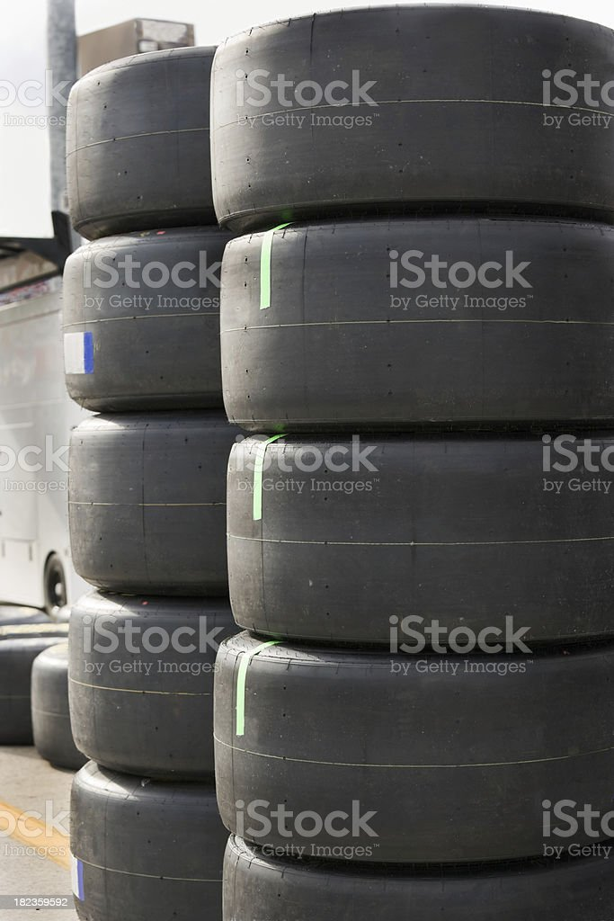 Brand new Stock car racing tires stacked. royalty-free stock photo