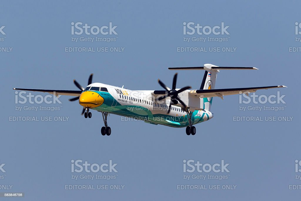 Brand new turboprop airliner on delivery stock photo