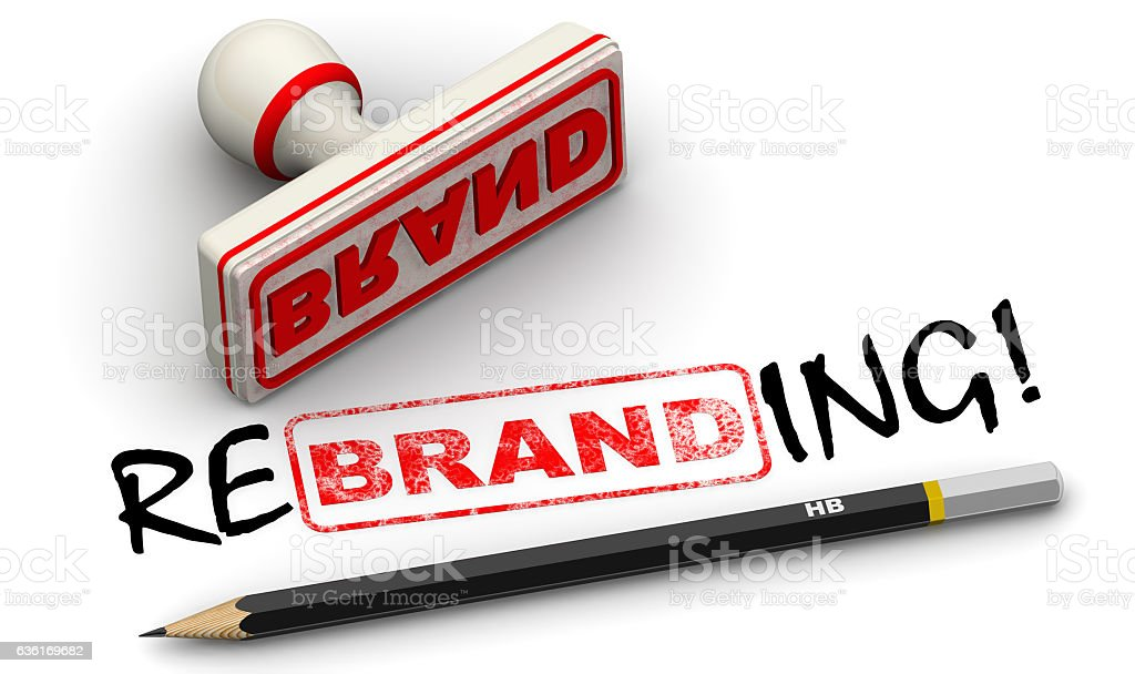 Brand - rebrending. Seal and imprint stock photo