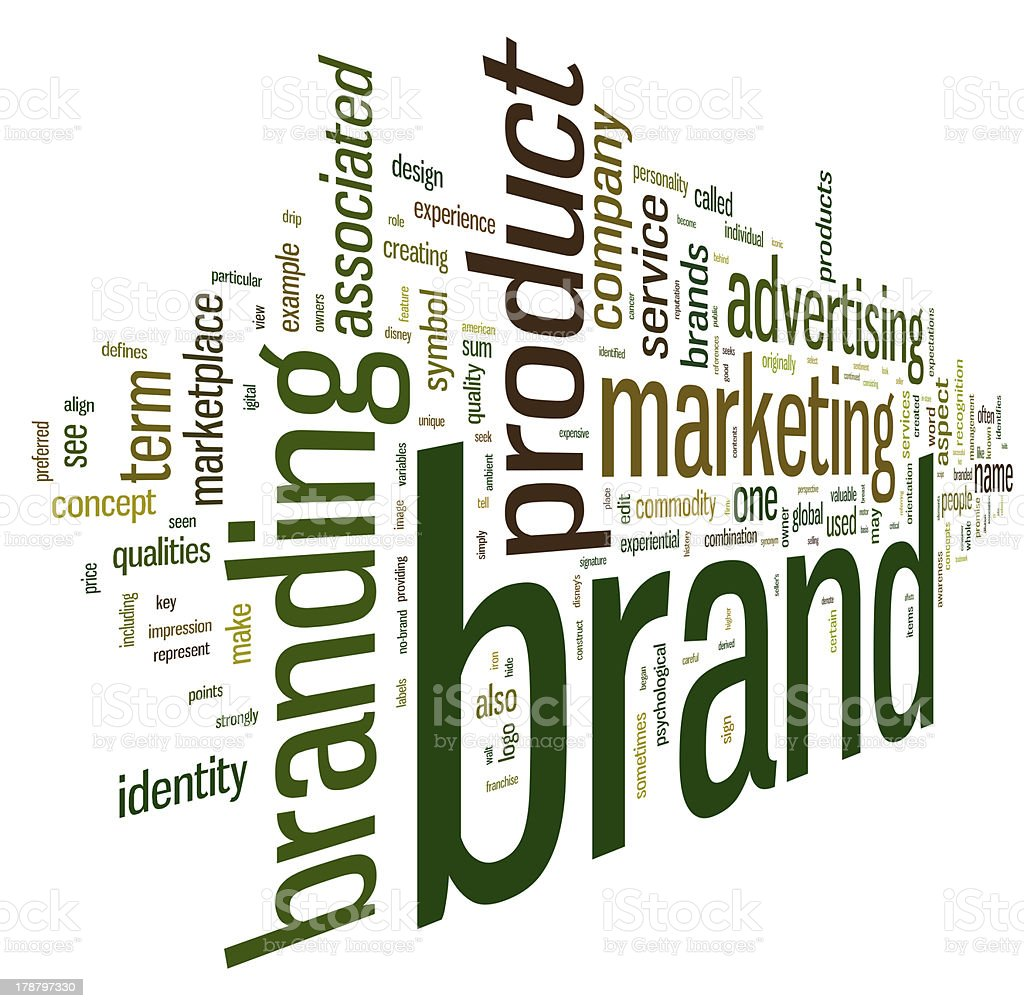 Brand related words in tag cloud royalty-free stock photo