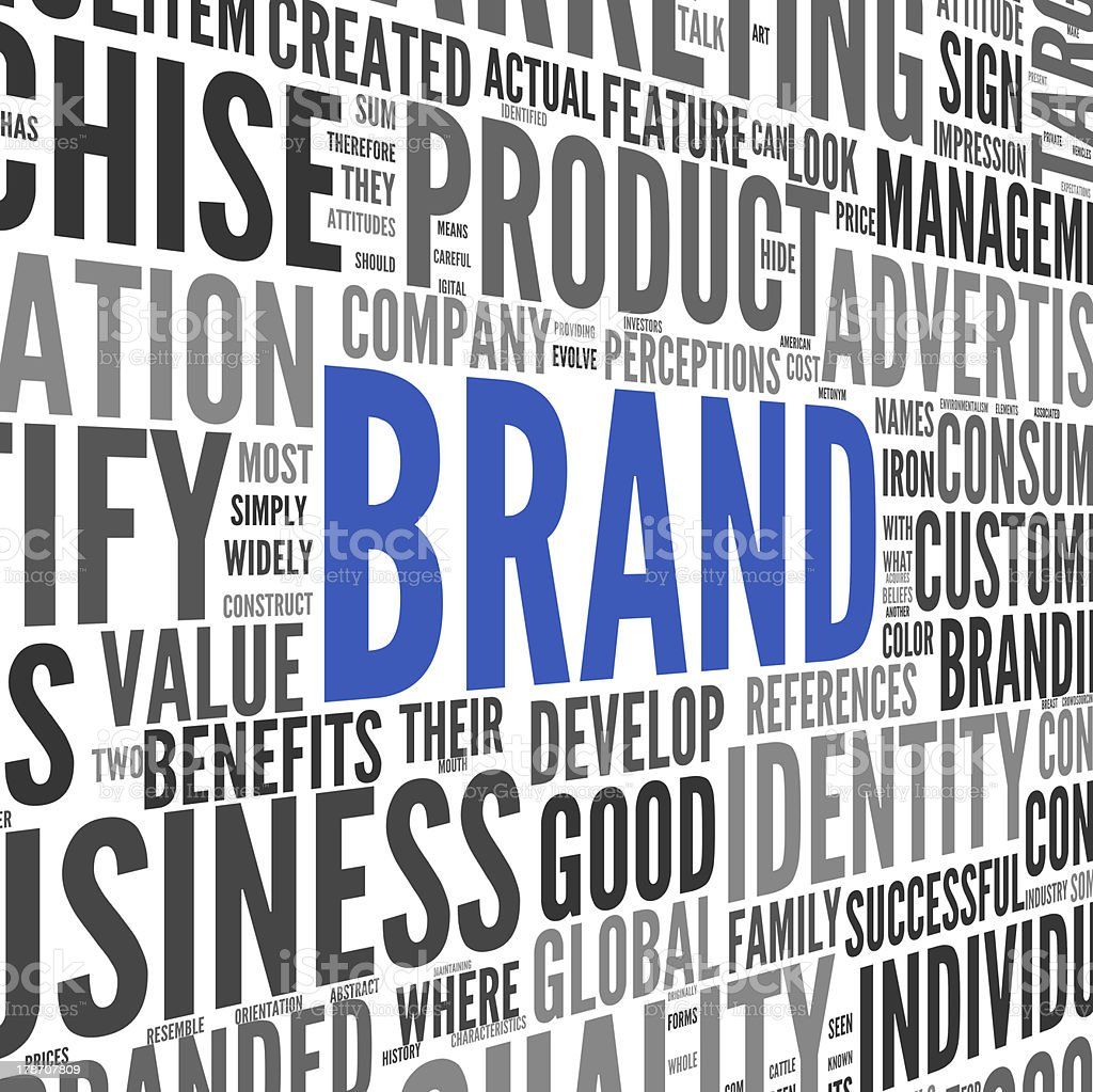 Brand related words in word tag cloud stock photo