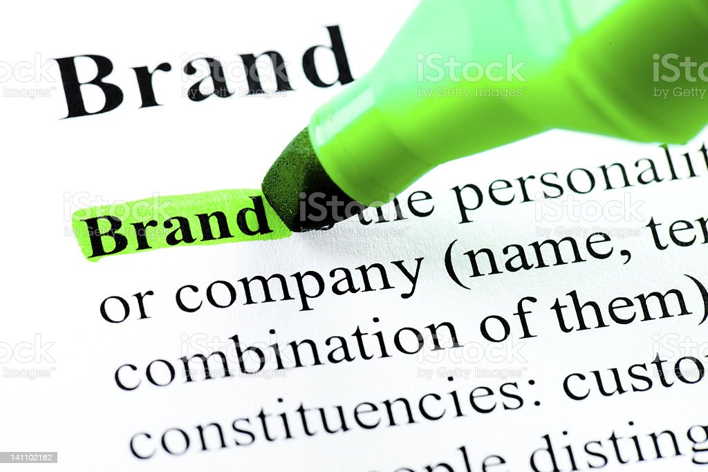 Brand word definition highlighted royalty-free stock photo