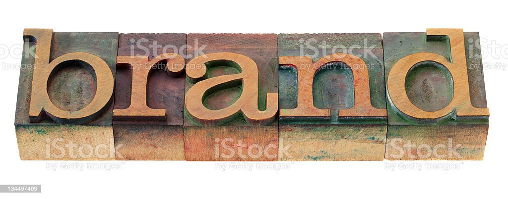 brand word in letterpress type royalty-free stock photo