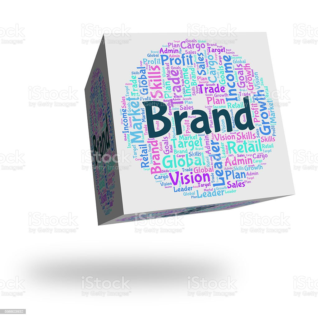 Brand Word Means Company Identity And Branded stock photo