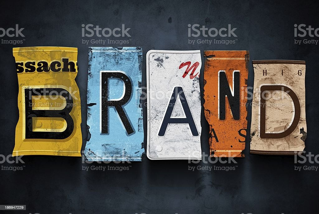 Brand word on vintage car license plates, concept sign stock photo