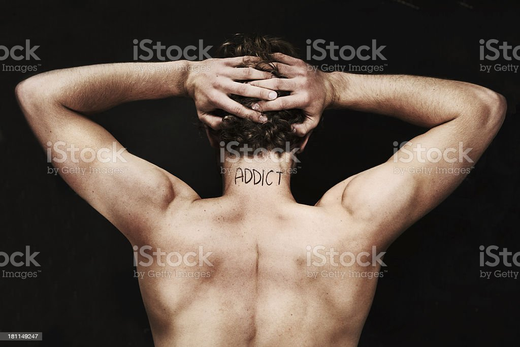 Branded as an addict royalty-free stock photo