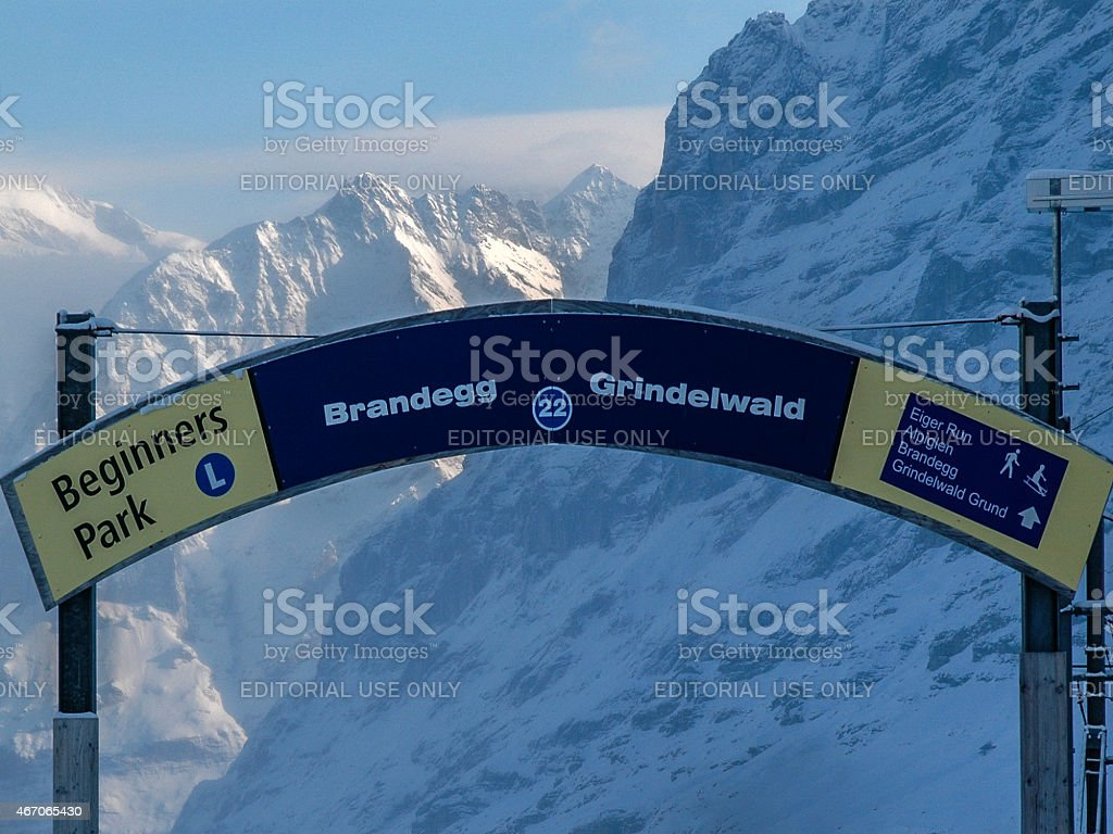 Brandeg and Grindewald Gateway to the Eiger stock photo