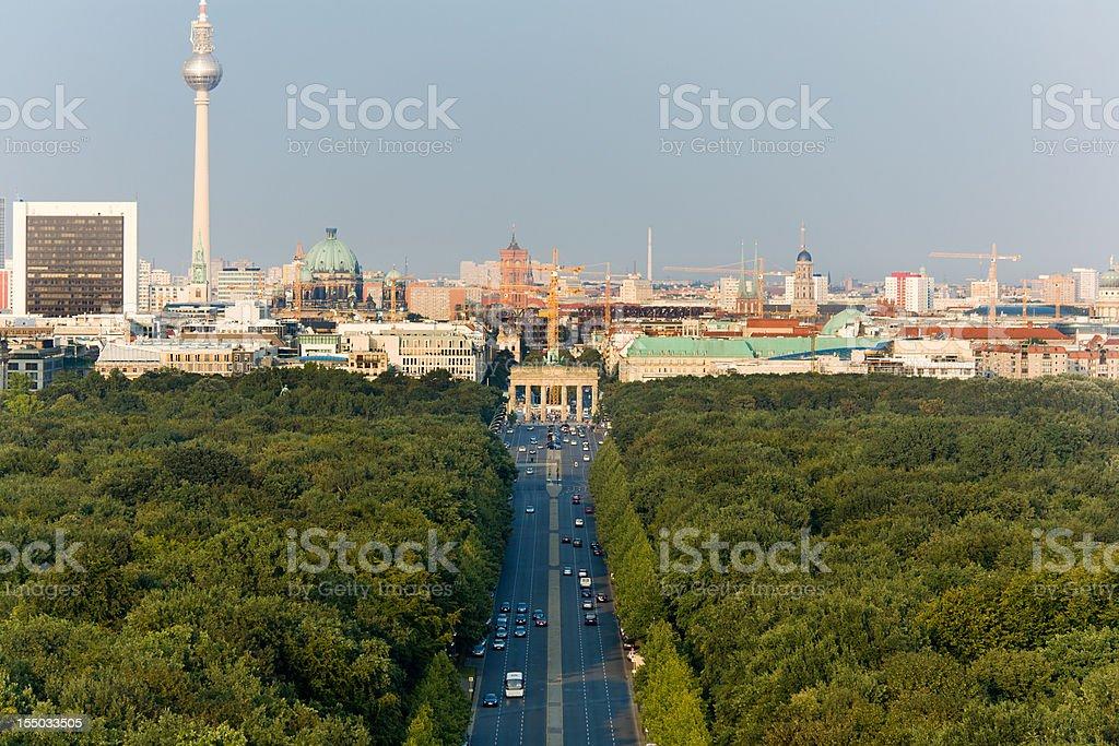 Brandenburg Gate and Berlin Cityscape royalty-free stock photo