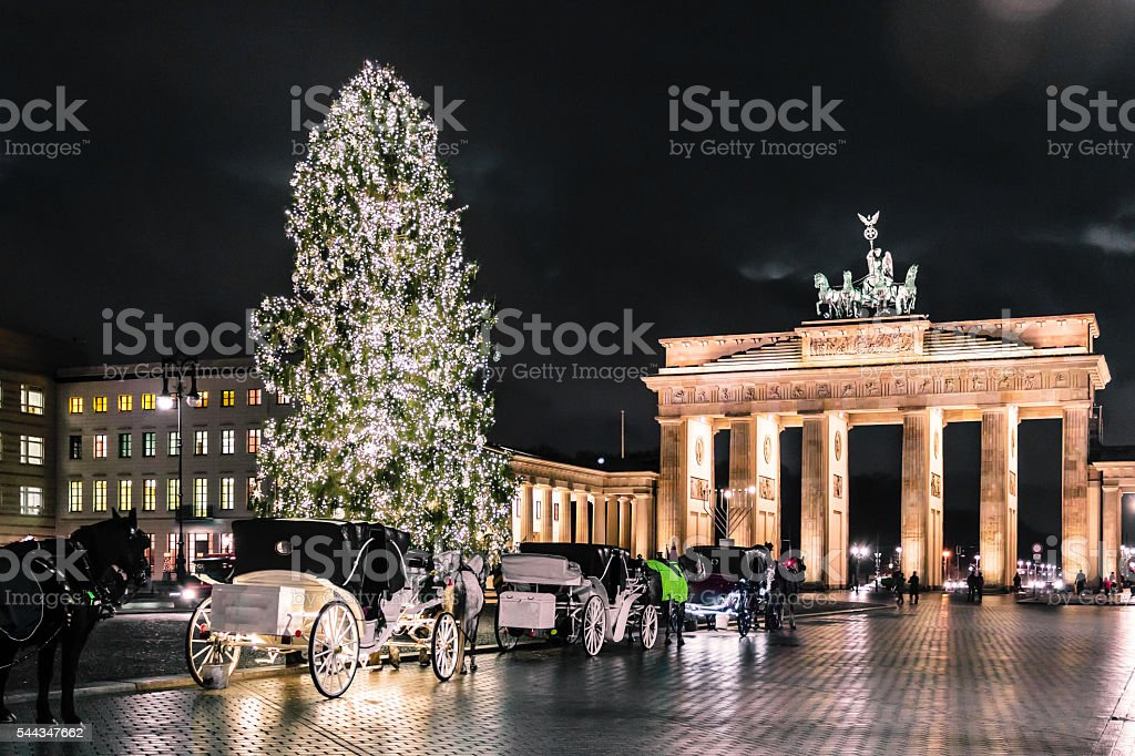 Brandenburg Gate at christimas in Berlin, Germany stock photo