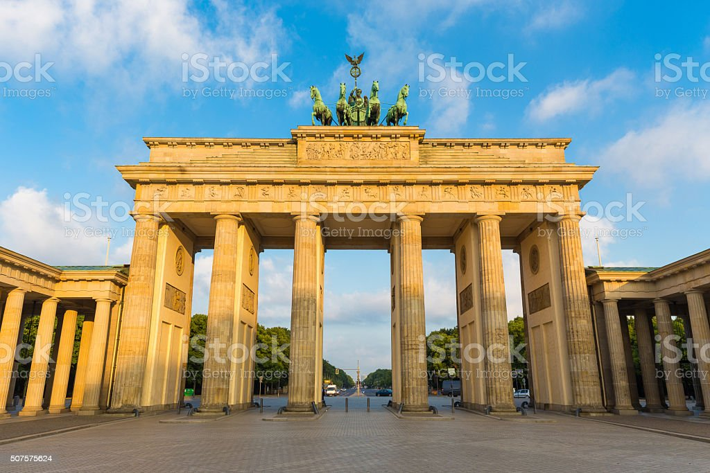 Brandenburg Gate at sunrise, Berlin, Germany stock photo