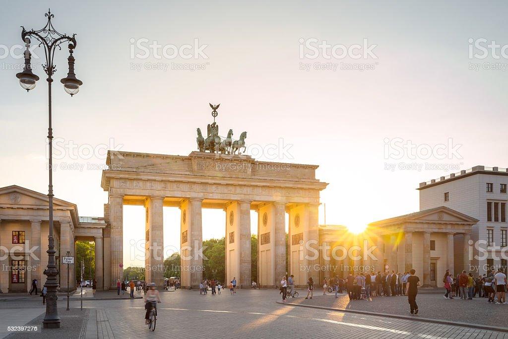 Brandenburg Gate at sunset, Berlin, Germany stock photo