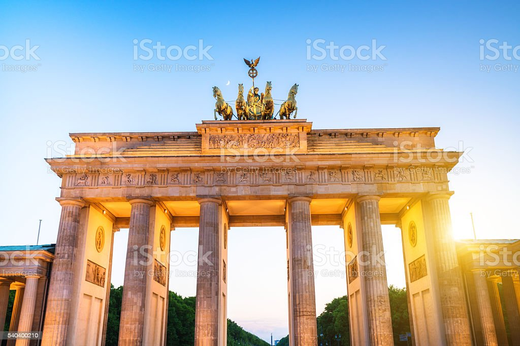 Brandenburg Gate at sunset, Berlin, Germany stock photo