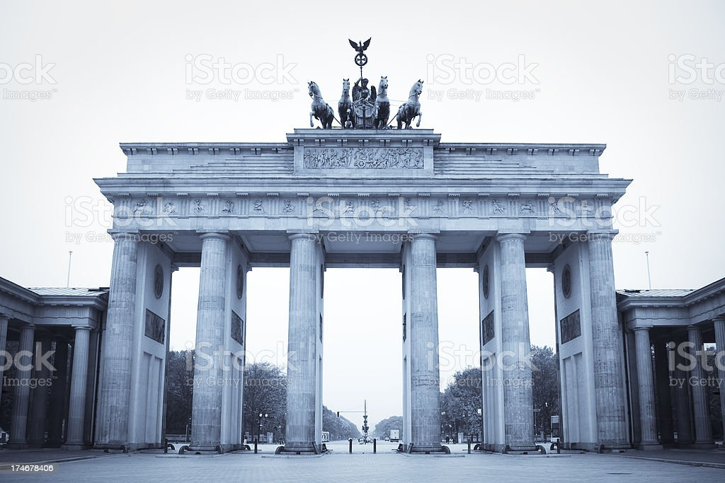 Brandenburg Gate, Berlin, blue toned stock photo