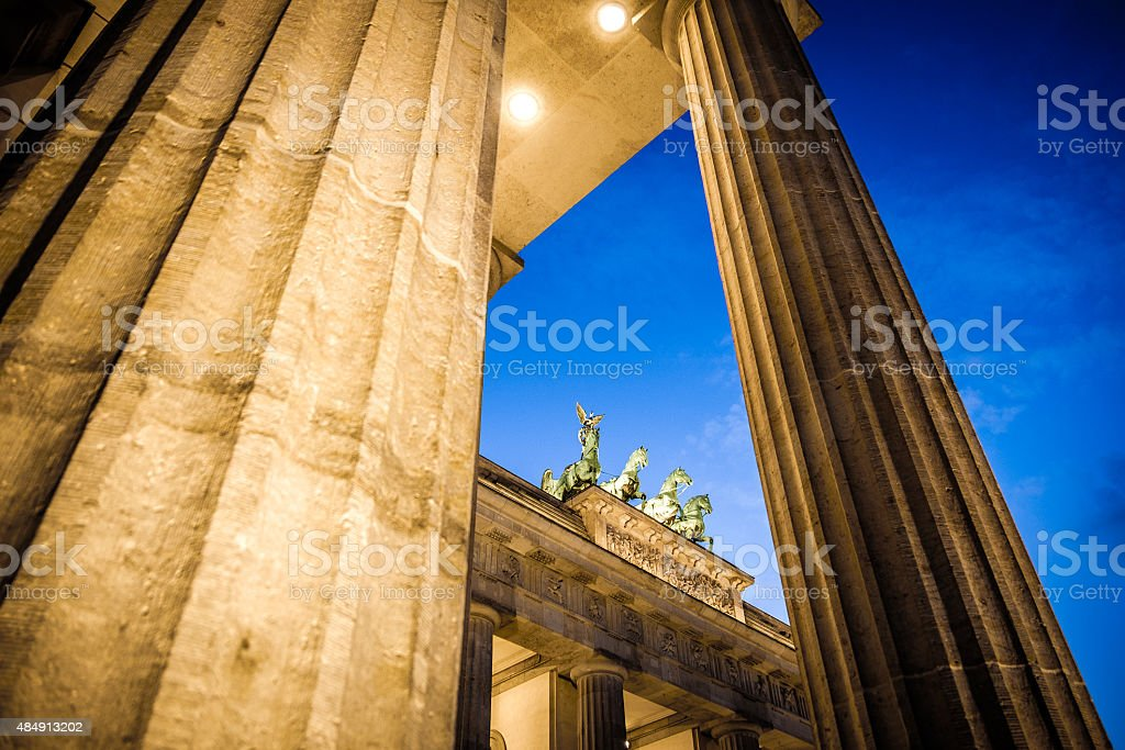 Brandenburg Gate (Brandenburger Tor), Berlin, Unter den Linden, Pariser Platz stock photo