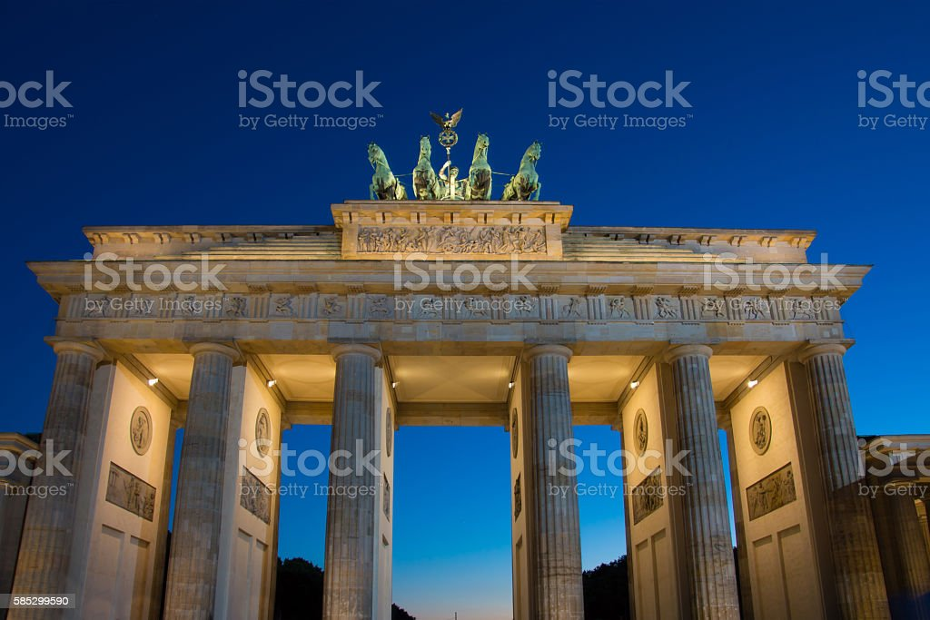 Brandenburger Tor - Brandenburg Gate in Berlin night shot stock photo