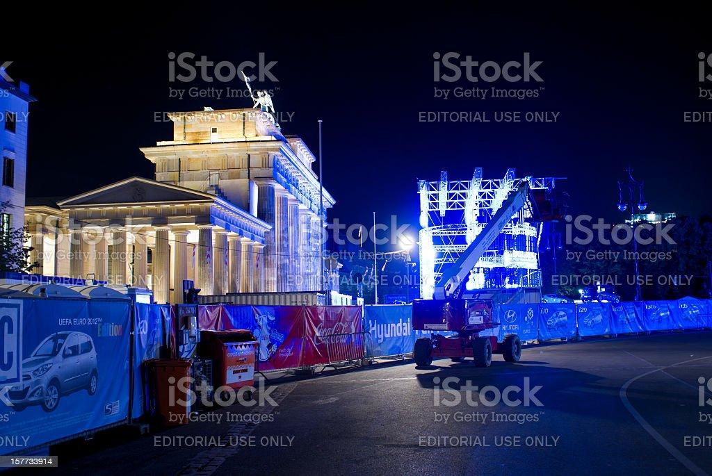 Brandenburg Gate during the European Football Championship 2012 at night stock photo
