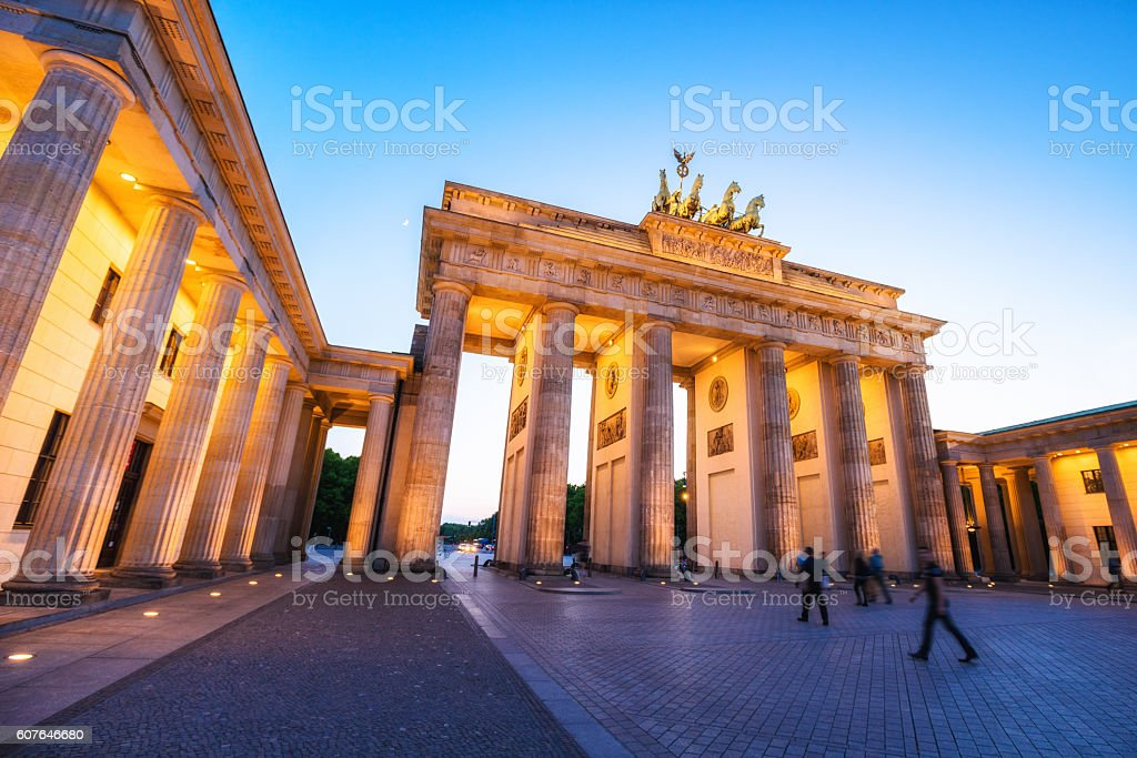 Brandenburg Gate in Berlin at Dusk stock photo