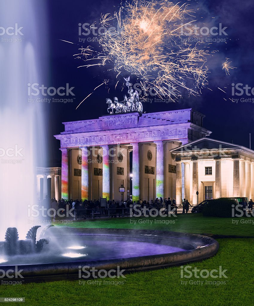 Brandenburg Gate in Berlin at night stock photo