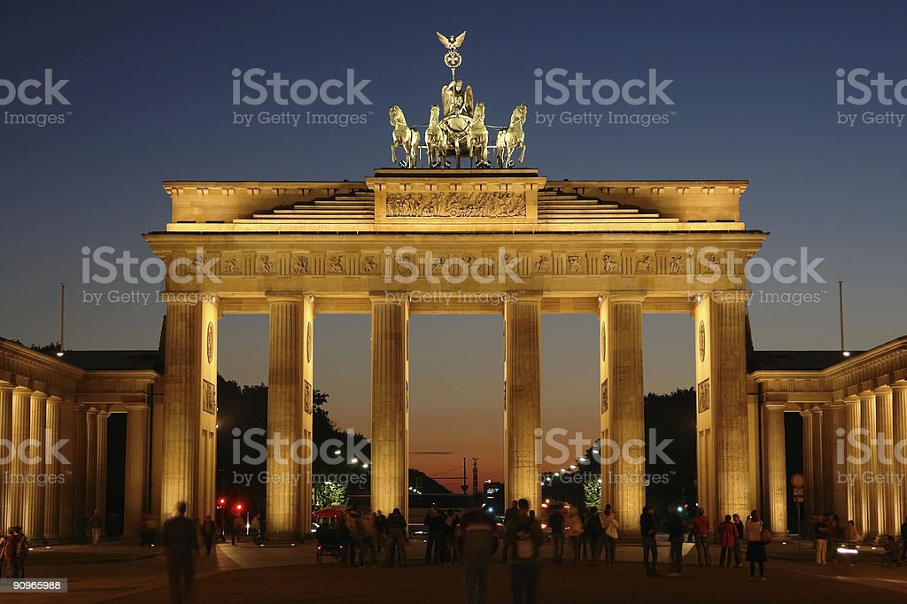 Brandenburg Gate in Berlin, Germany at sunset  royalty-free stock photo