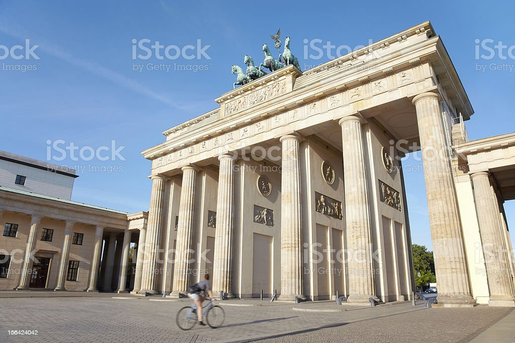 Brandenburg gate in the morning, bike, Berlin royalty-free stock photo