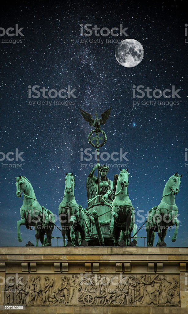 Brandenburg Gate night. stock photo