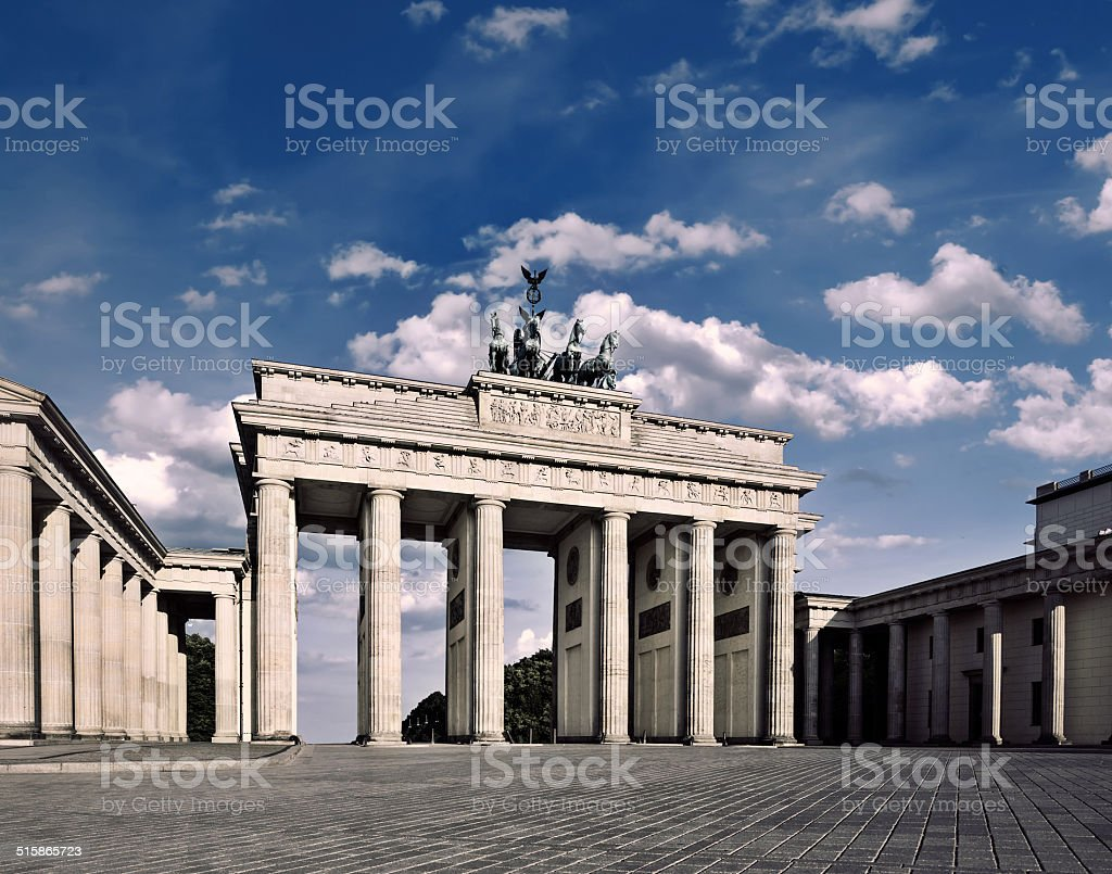 Brandenburg Gate on a bright day stock photo
