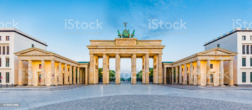 Brandenburg Gate panorama, Berlin, Germany stock photo