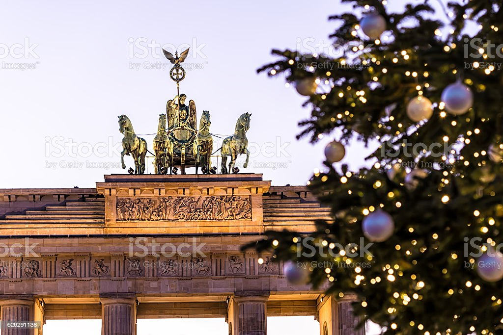 Brandenburg Gate with Christmas Tree stock photo