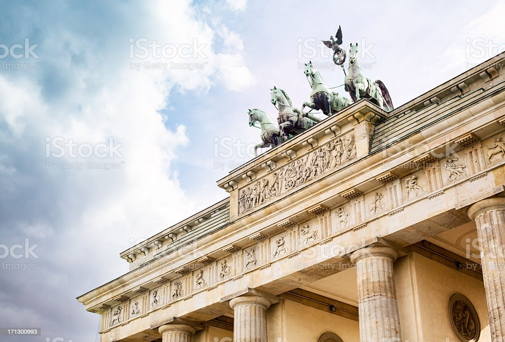 Brandenburg Gate with dramatic sky royalty-free stock photo