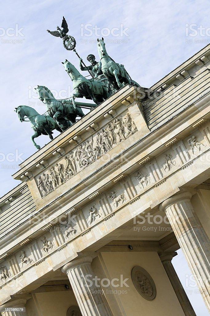 Brandenburg Gate with Quadriga Statue in Berlin, Germany (XXXL) royalty-free stock photo