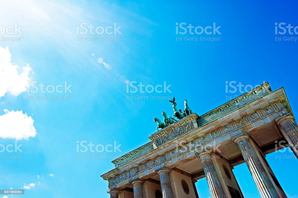 Brandenburg in blue, Berlin, Germany stock photo